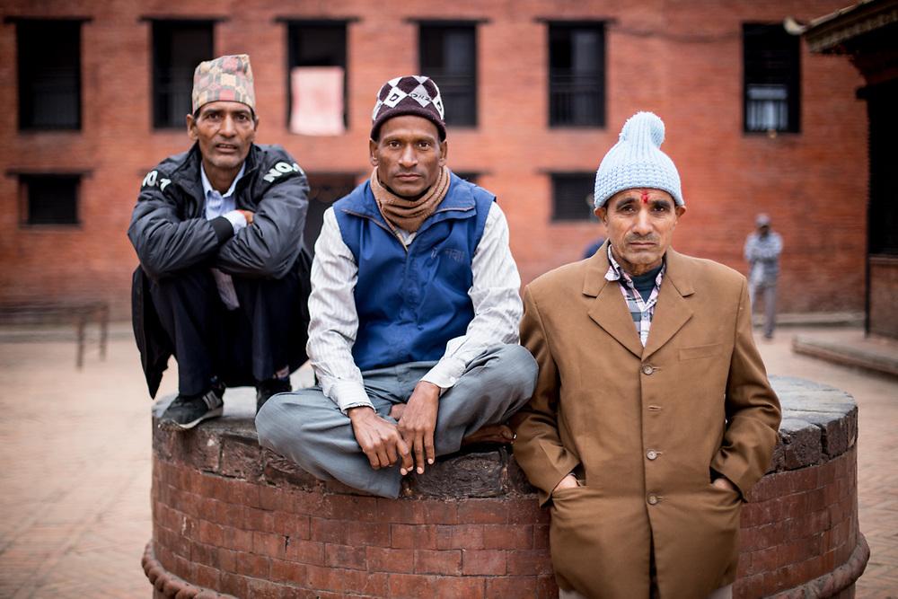 Nepali Men. Kathmandu Durbar square, Nepal.