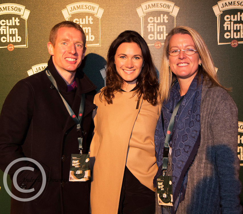 Ollie Canning with Aine Killilea Natasha Heaslipat the Jameson Cult Film Club screening of Friday the 13th Part 2 in the Black Box Theatre in Galway.  Photo:Andrew Downes