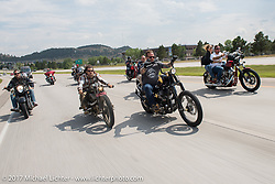 Randy Noldge, Brad Gregory, Aaron Greene and Bobby Seeger on Aidan's Ride to raise money for the Aiden Jack Seeger nonprofit foundation to help raise awareness and find a cure for ALD (Adrenoleukodystrophy) during the annual Sturgis Black Hills Motorcycle Rally. I-90 between Rapid City and Sturgis, SD, USA. Tuesday August 8, 2017. Photography ©2017 Michael Lichter.