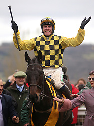 Al Boum Photo ridden by Paul Townend celebrates victory at the Magners Cheltenham Gold Cup Chase during Gold Cup Day of the 2019 Cheltenham Festival at Cheltenham Racecourse.