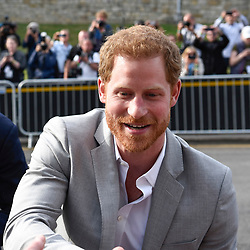 © Licensed to London News Pictures. 18/05/2018. WINDSOR, UK. Prince Harry and Prince William (not pictured) take an impromptu walkabout meeting the public outside Windsor Castle ahead of the wedding between Prince Harry and Meghan Markle on 19 May.  Thousands of people are expected to visit the town for what has been billed as the wedding of the year.  Photo credit: Stephen Chung/LNP
