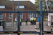 Security preparations take place at Napier Barracks to welcome Asylum seekers at the new assessment and dispersal facility for asylum seekers on 21st September 2020 in Folkestone, Kent, Untied Kingdom.  Napier barracks was recently taken over by the UK home office and is part of Shorncliffe military base.