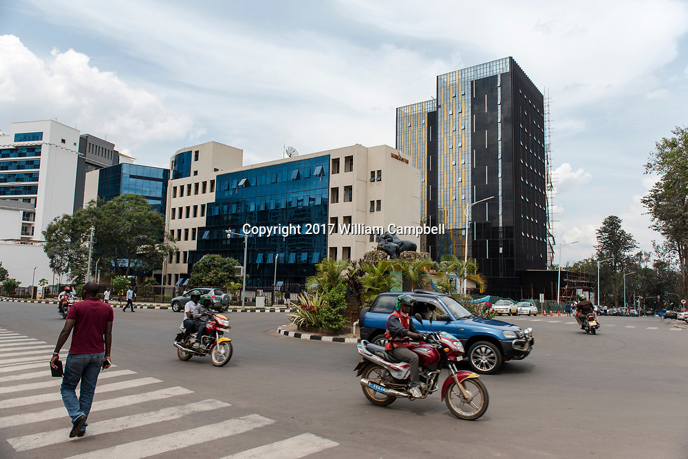 KIGALI, RWANDA-OCT 16: New buildings in downtown Kigali, the capital of Rwanda. Since the 1994 genocide that killed at least 800,000 Rwanda has experienced unprecedented development with a major building boom in the capital. (Photo by William Campbell-Corbis via Getty Images)