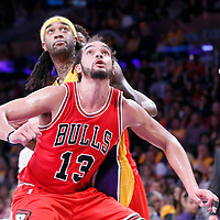 29 January 2015: Chicago Bulls center Joakim Noah (13) vies for the rebound with Los Angeles Lakers center Jordan Hill (27) during the Los Angeles Lakers 123-118 2OT victory over the Chicago Bulls, at the Staples Center, Los Angeles, California, USA.