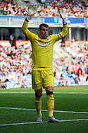 Burnley Goalkeeper Thomas Heaton holds his hands up for the ball. Skybet football league championship match, Burnley  v Brentford at Turf Moor in Burnley, Lancs on Saturday 22nd August 2015.<br /> pic by Chris Stading, Andrew Orchard sports photography.