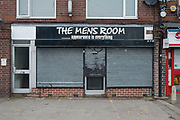 The Mens Room salon shuttered and closed in Birmingham, United Kingdom.