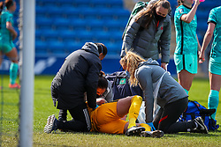 CHESTERFIELD, ENGLAND - Sunday, April 25, 2021: Liverpool's goalkeeper Rylee Foster receives treatment for an injury during the FA Women's Championship game between Sheffield United FC Women and Liverpool FC Women at the Technique Stadium.  Liverpool won 1-0. (Pic by David Rawcliffe/Propaganda)