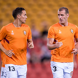 BRISBANE, AUSTRALIA - OCTOBER 13: Luke DeVere and Jade North of the Roar warm up during the Round 2 Hyundai A-League match between Brisbane Roar and Adelaide United on October 13, 2017 in Brisbane, Australia. (Photo by Patrick Kearney)