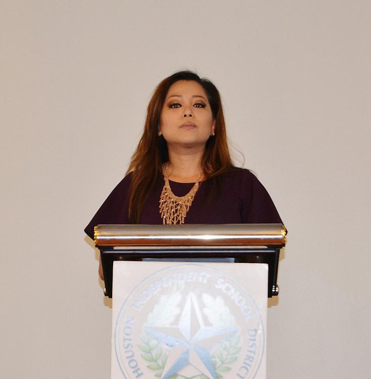 Emcee Angela Chen from Fox 26.