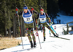Erik Lesser (GER) and Arnd Peiffer (GER)  during Men 15 km Mass Start at day 4 of IBU Biathlon World Cup 2015/16 Pokljuka, on December 20, 2015 in Rudno polje, Pokljuka, Slovenia. Photo by Vid Ponikvar / Sportida