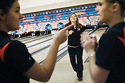 """""""Don't ever doubt me!"""" yells Karissa after picking up a spare during a tie-breaker roll-off at Sunnyside. As she rolled, Brittney, right, yelled out """"Oh, my God!"""" thinking she had thrown it too far to the left. Ashlen, left, backed up Karissa. Kennewick defeated West Valley to win the 2A/3A division and Wenatchee beat Moses Lake for the 4A. Valley lanes in Sunnyside was selected as neutral ground."""