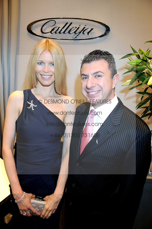 Australian award winning jewellery designer John Calleija and special guest Claudia Schiffer hosted the launch party of Calleija's new London store in the Royal Arcade, Old Bond Street, London on 24th June 2008.<br /><br />Picture shows:- JOHN CALLEIJA and CLAUDIA SCHIFFER.