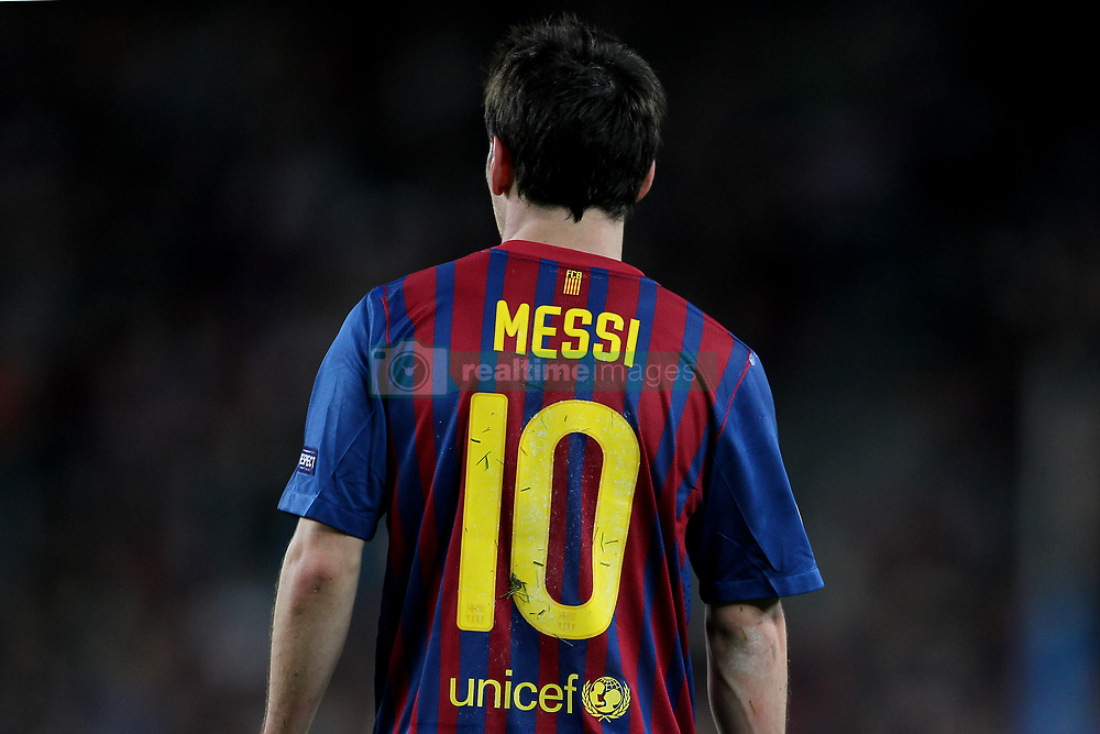 A view of the back of the shirt of Barcelona's Lionel Messi
