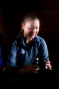 Michelle Hickner relaxes in the Elfin Lakes backcountry hut in Garibaldi Provincial Park, British Columbia, Canada.