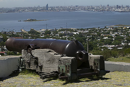 South America, Uruguay, Canelones, Montevideo, Cerro de Montevideo, overlooking the city from the Museo Militar Fortaleza General Artigas, Military Museum of the Fort of General Artigas, constructed in 1808, this fort was the last constructed during the Colonial Period. It was built to protect the lighthouse, not the city.