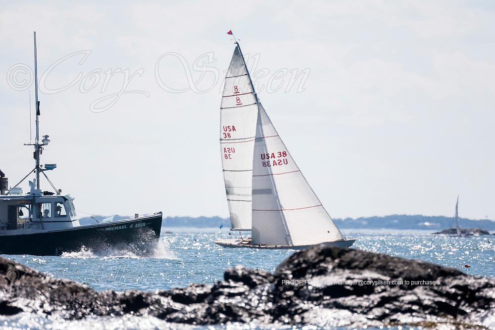 Pleione sailing in the Marblehead Corinthian Classic Yacht Regatta, day two.