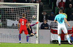 Joe Hart of England makes a save onto the post - Mandatory by-line: Robbie Stephenson/JMP - 11/10/2016 - FOOTBALL - RSC Stozice - Ljubljana, England - Slovenia v England - World Cup European Qualifier