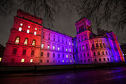 © Licensed to London News Pictures. 31/01/2020. London, UK. The Foreign Office in Whitehall lit up red, white and blue, the colours of The Union Flag in celebration of the day that the UK leaves the European Union. 51.9% of the UK population voted to leave the EU in a referendum in June 2016. Photo credit: Ben Cawthra/LNP