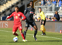 October 21, 2018 - Chester, Pennsylvania, U.S - Philadelphia Union defender CORY BURKE(19)  fights for the ball against KAKU (10) of the New York Red Bulls at Talen Energy Field in Chester PA (Credit Image: © Ricky Fitchett/ZUMA Wire)