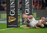 Twickenham, United Kingdom, Saturday, 9th March 2019,  England's,George KRIUS, slides in the touch down, from his Blocked deflection, during the Guinness Six Nations match, England vs Italy,  at the RFU Rugby, Stadium,© Peter Spurrier