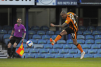 Hull City's Josh Magennis has a shot at goal <br /> <br /> Photographer Ian Cook/CameraSport<br /> <br /> The EFL Sky Bet League One - Portsmouth v Hull City - Saturday 23rd January 2021 - Fratton Park - Portsmouth<br /> <br /> World Copyright © 2021 CameraSport. All rights reserved. 43 Linden Ave. Countesthorpe. Leicester. England. LE8 5PG - Tel: +44 (0) 116 277 4147 - admin@camerasport.com - www.camerasport.com