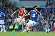Gareth Barry of Everton get away from Gaston Ramirez of Middlesbrough. Premier league match, Everton v Middlesbrough at Goodison Park in Liverpool, Merseyside on Saturday 17th September 2016.<br /> pic by Chris Stading, Andrew Orchard sports photography.