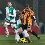 Galatasaray's Ayhan AKMAN (R) during their Turkey Cup Group A matchday 3 soccer match Galatasaray between Beypazari Sekersporat the AliSamiYen stadium in Istanbul Turkey on Tuesday 11 January 2011. Sports fans, knee collapsed and the world of European giants 'hell' as a name from the Ali Sami Yen stadium to play matches with Turkey Sekerspor Beypazari Cup farewell. Sports, 47-year sanctuary 'goodbye,' he says. Photo by TURKPIX