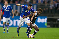 03.11.2011, Veltins Arena, Gelsenkirchen, GER, UEFA Europa League, FC Schalke 04 (GER) vs AEK Larnaca FC (CYP), im Bild Marco Hoeger (#12 Schalke) - Sunny Kingsley (#39 Larnaca) // during FC Schalke 04 (GER) vs AEK Larnaca FC (CYP) at Veltins Arena, Gelsenkirchen, GER, 2011-11-03. EXPA Pictures © 2011, PhotoCredit: EXPA/ nph/  Kurth       ****** out of GER / CRO  / BEL ******