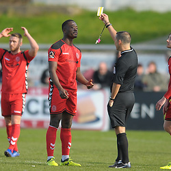 TELFORD COPYRIGHT MIKE SHERIDAN 6/4/2019 - Dan Udoh of AFC Telford is booked during the Vanarama Conference North fixture between Chorley FC and AFC Telford United at Victory Park