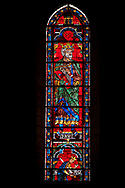 Medieval Window of the North Transept of the Gothic Cathedral of Chartres, France- Circa 1235. A UNESCO World Heritage Site. The panels depict King David with his harp with Saul dying on his own sword below . .<br /> <br /> Visit our MEDIEVAL ART PHOTO COLLECTIONS for more   photos  to download or buy as prints https://funkystock.photoshelter.com/gallery-collection/Medieval-Middle-Ages-Art-Artefacts-Antiquities-Pictures-Images-of/C0000YpKXiAHnG2k