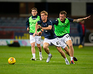 06/10/2020: Dundee FC train at Kilmac Stadium after their Betfred Cup match against Forfar Athletic was postponed due to a positive COVID test result for one of the Forfar players: Cammy Blacklock races away from Lee Ashcroft<br /> <br />  :©David Young: davidyoungphoto@gmail.com: www.davidyoungphoto.co.uk