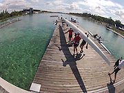 Munich, GERMANY,    General Views, GV's,  of the Boathouse and  Boating Area, CAN W8+,  Boating for their morning training outing. 2012 World Cup III on the Munich Olympic Rowing Course,  Thursday  14/06/2012  [Mandatory Credit Peter Spurrier/ Intersport Images]..