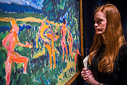 Die Brücke art: Badende am Waldteich by Erich Heckel, est £1.2m-2m,- Christie's Impressionist, Modern and Surrealist Art pre-sale exhibition ahead of the Evening sale on 4 February. Highlights include: Cézanne's Vue sur L'Estaque et Le Château d'If, from the collection of Samuel Courtauld, which is coming to the market for the first time since it was acquired 79 years ago, in 1936 (estimate: £8-12 million); The most valuable group of Surrealist art ever to be offered at auction, featuring a group of works by Magritte and Miró, led by Joan Miró's L'oiseau au plumage déployé vole vers l'arbre argenté, 1953, from a Distinguished European Collection (estimate: £7-9 million); Amedeo Modigliani's rare double portrait Les deux filles, 1918 (estimate: £6-8 million); Femme de Venise V by Alberto Giacometti (estimate: £6-8 million); Juan Gris's La Lampe, 1914, which is considered to be among the artist's greatest contributions to Cubism (estimate: £2.5-3.5 million); Paysage à L'Estaque, 1907, by Georges Braque (estimate: £2-3 million); An important group of German works from the collection of industrial chemist Carl Hagemann, representing three of the four founding artists of the Die Brücke movement, led by one of the masterpieces of Die Brücke art: Badende am Waldteich by Erich Heckel, along with key works by Ernst Ludwig Kirchner and Karl Schmidt-Rottluff; and other important works by Chagall, Moore, Picabia, Arp, Ernst, Tanguy and Dominguez. The auction has a total pre-sale estimate of £92.8 million-£133.8 million. Christie's, King Street, London, UK.