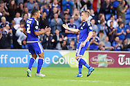 Craig Noone of Cardiff city ® celebrates with Lee Peltier after he scores his teams 1st goal from a free kick.  Capital One cup match, 1st round, Cardiff city v AFC Wimbledon at the Cardiff city stadium in Cardiff, South Wales on Tuesday 11th August  2015.<br /> pic by Andrew Orchard, Andrew Orchard sports photography.