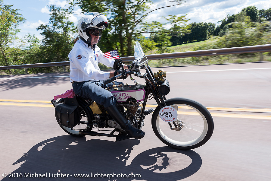 Scott Byrd riding his 1916 Harley-Davidson during the Motorcycle Cannonball Race of the Century. Stage-2 from York, PA to Morgantown, WV. USA. Sunday September 11, 2016. Photography ©2016 Michael Lichter.