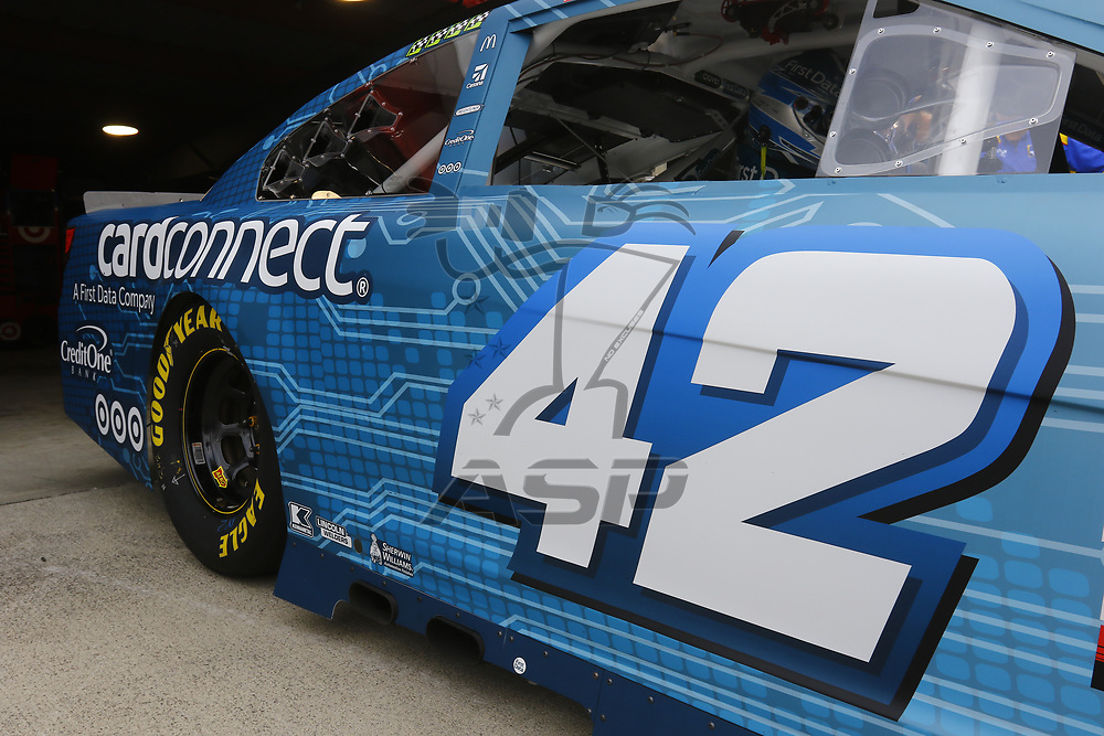 October 28, 2017 - Martinsville, Virginia, USA: The car of Kyle Larson (42) sits in the garage before practice for the First Data 500 at Martinsville Speedway in Martinsville, Virginia.