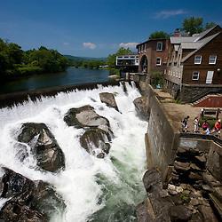 Falls below the covered bridge in Quechee, Vermont. Ottauquechee River.