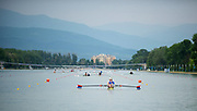 Plovdiv, Bulgaria, 9th May 2019, FISA, Rowing World Cup 1, W2-, USA, USA2,(s) Emily REGAN, (b)Felice MUELLER,paddle away from the Pontoon, at the start of training outing.<br /> [© Peter SPURRIER]
