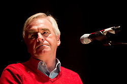 © Licensed to London News Pictures. 09/09/2015. London, UK. JOHN MCDONNELL (Member of Parliament for Hayes and Harlington) a close friend of Jeremy Corbyn, speaking at a Jeremy Corbyn rally i Islington, Lodnon a few days before the announcement of the new leader of the Labour Party . Photo credit: Ben Cawthra/LNP