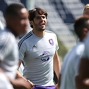 Kaka listens to the coaches during the Orlando City Soccer club MLS practice at the Florida Citrus Bowl on Wednesday, March 4, 2015 in Orlando ,Florida. The first season for the Lions is scheduled to begin on March 8, and over 60,000 tickets have been sold for the home opener, though a league wide player strike may occur prior to the beginning of the scheduled season. (AP Photo/Alex Menendez)