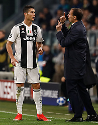 November 8, 2018 - Turin, Italy - Juventus head coach Massimiliano Allegri (R) and Cristiano Ronaldo talk during the Group H match of the UEFA Champions League between Juventus FC and Manchester United FC on November 7, 2018 at Juventus Stadium in Turin, Italy. (Credit Image: © Mike Kireev/NurPhoto via ZUMA Press)