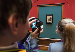 One of the most iconic paintings in the world, which has never before been seen in Scotland, begins a flying visit to Edinburgh this week. The Goldfinch, a beautiful and mysterious masterpiece from the Golden Age of Dutch art, which was painted by Carel Fabritius in 1654, will be on loan to the Scottish National Gallery for six weeks from 4 November to 18 December.<br /> <br /> Pictured: Young people from The Chorister School, County Durham