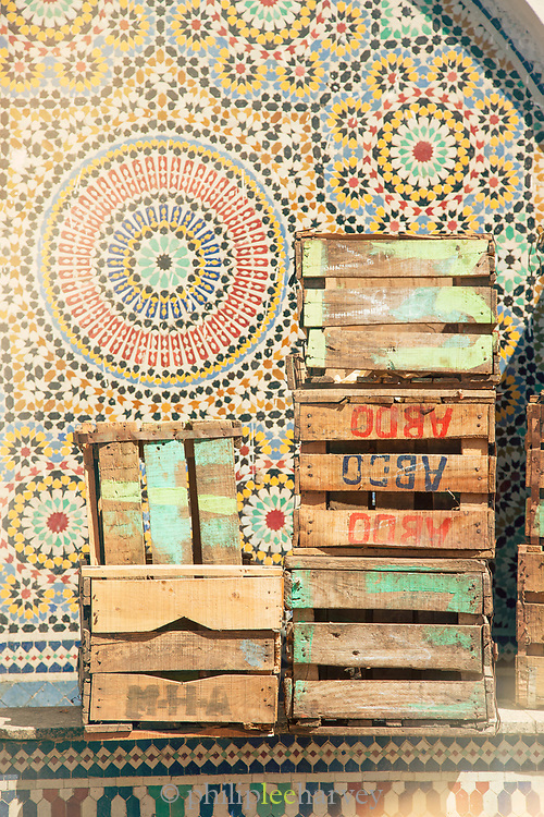 Painted tiles and wooden boxes in Casablanca, Morocco
