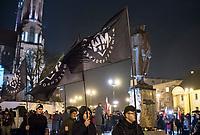 Bialystok, 10.11.2017. Ulicami miasta przeszedl po raz siodmy Marsz Niepodleglosci , zorganizowany wspolnie przez srodowiska prawicowe , konserwatywne , katolickie i narodowe N/z dzialacze Mlodziezy Wszechpolskiej ze sztandarami fot Michal Kosc / AGENCJA WSCHOD