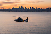 AS 365 Dauphin Helicopter over Vancouver, British Columbia, Canada
