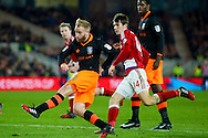 Sheffield Wednesday midfielder Barry Bannan (41) with a shot during the The FA Cup match between Middlesbrough and Sheffield Wednesday at the Riverside Stadium, Middlesbrough, England on 8 January 2017. Photo by Simon Davies.