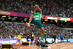 South Africa's Luvo Manyonga in action in the Men's Long Jump Final during day two of the 2017 IAAF World Championships at the London Stadium.