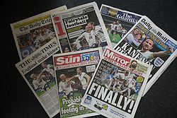 © Licensed to London News Pictures. 08/07/2021. London, UK. Front pages of the UK newspapers covering England's semi-final victory against Denmark in EURO 2020. Photo credit: Dinendra Haria/LNP