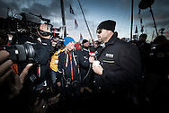 The Vendee Globe 2016. Les Sables d'Olonne. France<br /> British yachtsman Alex Thomson, skipper of the Hugo Boss IMOCA Open60 race yacht. Shown here prior to the start of the solo non stop around the world yacht race. <br /> Credit - Lloyd Images