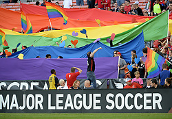 September 9, 2017 - Washington, DC, USA - 20170909 - D.C. United fans display the rainbow colors during ''D.C. United night out'' before the match between United and Orlando City FC at RFK Stadium in Washington. (Credit Image: © Chuck Myers via ZUMA Wire)